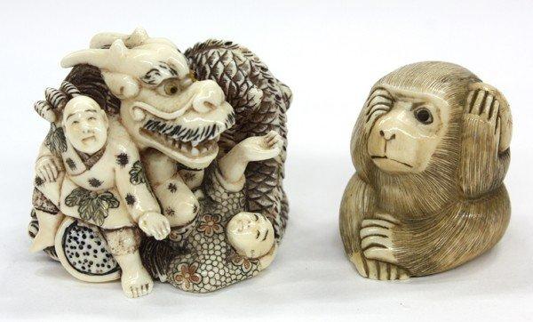 6: Two Ivory Figural Netsuke