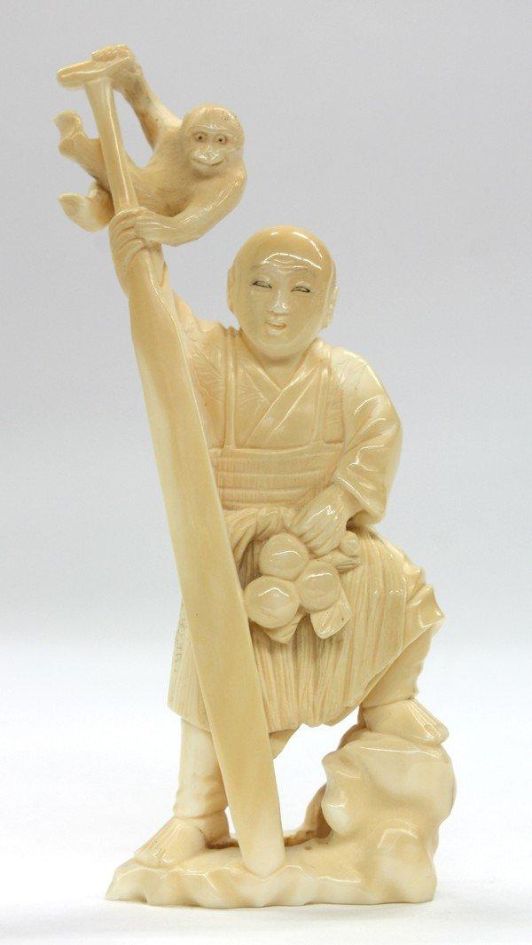 8: Japanese Tinted Ivory Okimono (Small Sculpture)