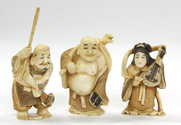 11: Three Ivory Figural Netsuke
