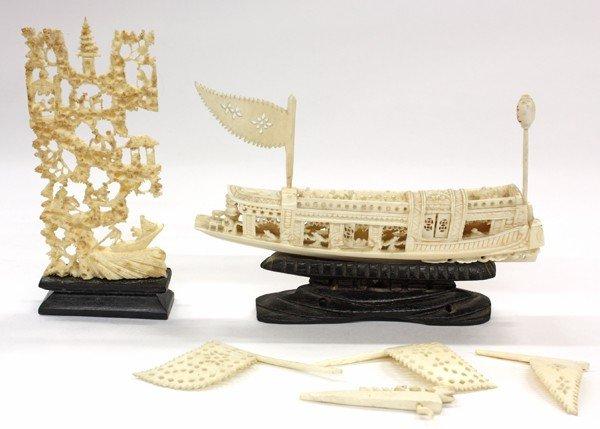 13: Chinese Ivory/Bone Boat and Landscape