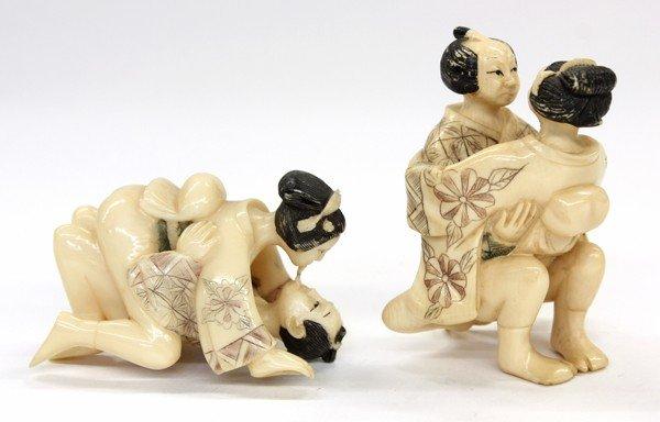 16: Two Erotic Ivory Figural Netsuke
