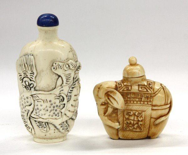 17: Two Chinese Ivory Snuff Bottles