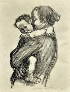 6192: Lithograph, Kathe Kollwitz, Mutter mit Jungen