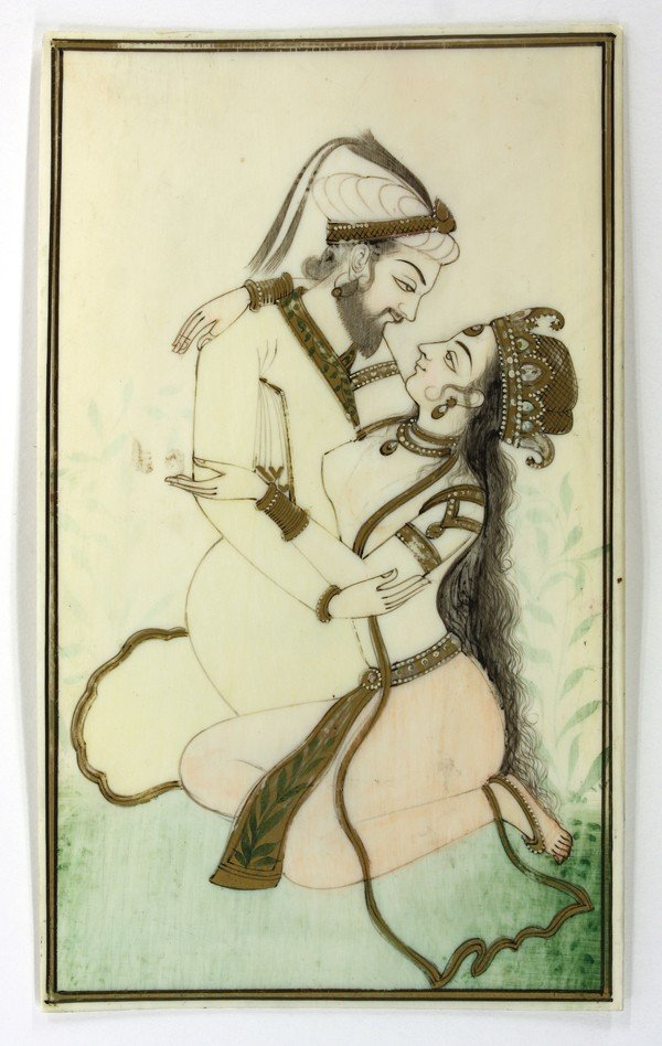 4004: East Indian Ivory Painting of Lovers