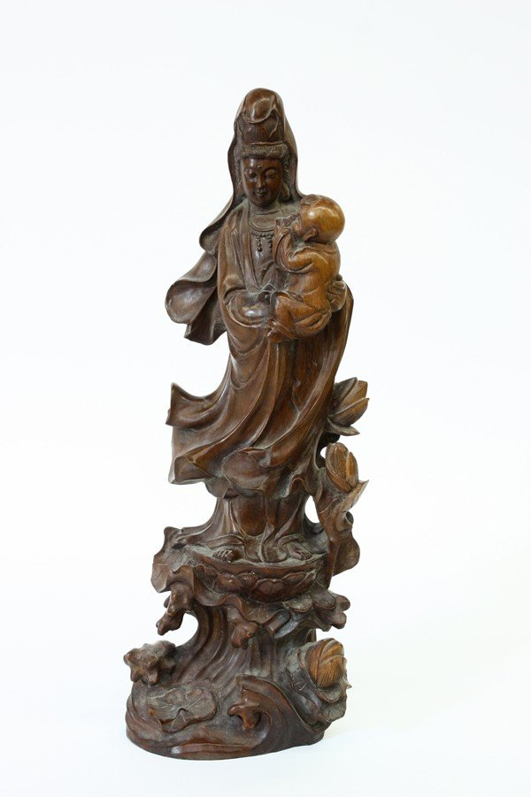 4007: Chinese Wooden Figure of Guanyin