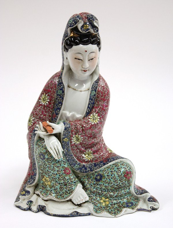 4008: Chinese Enameled Porcelain Guanyin Figure