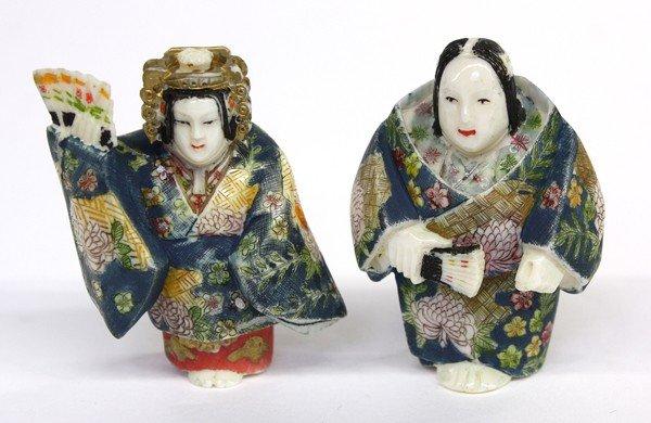 4010: Two Polychromed Ivory Figural Netsuke
