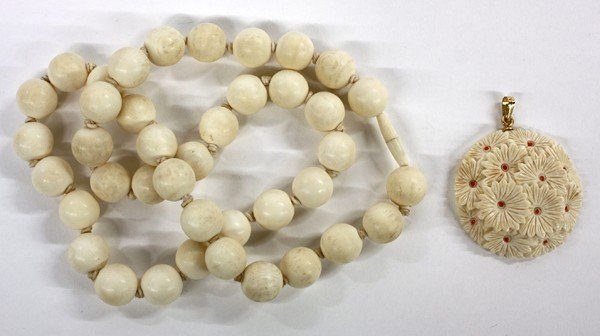 4012: Ivory Necklace and Pendant