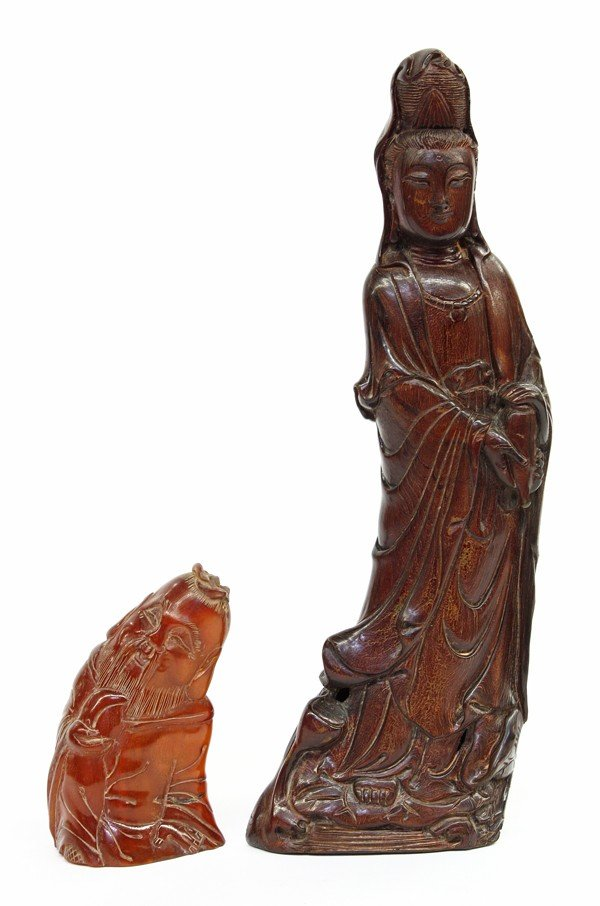 4014: Chinese Horn Figural Carvings, Guanyin, Shoulao