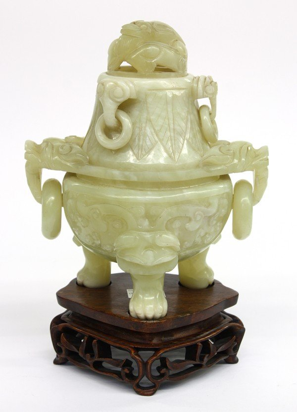4023: Chinese Large Green Hardstone Tripod Censer