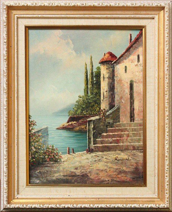 4423: Painting, signed Rossini, Italian Lake Scene