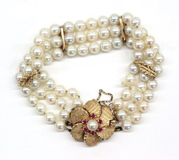 4526: Three strand cultured pearl bracelet
