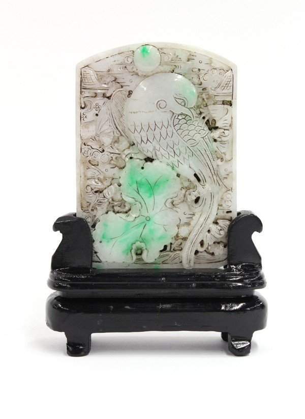 6: Chinese Small Jade Plaque with Stand