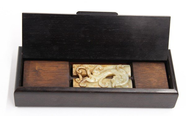 7: Chinese Jade Carving and Dark Wood Box