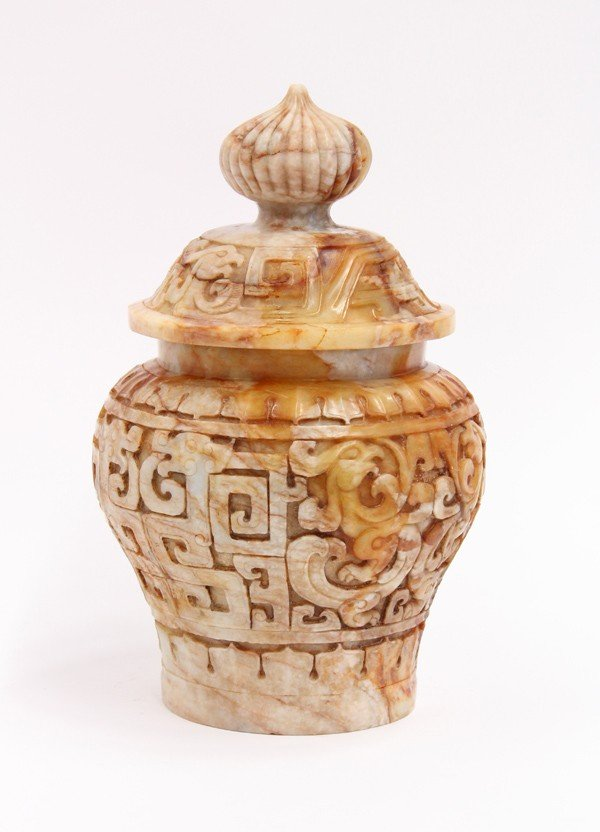 9: Chinese Hardstone Cover Urn