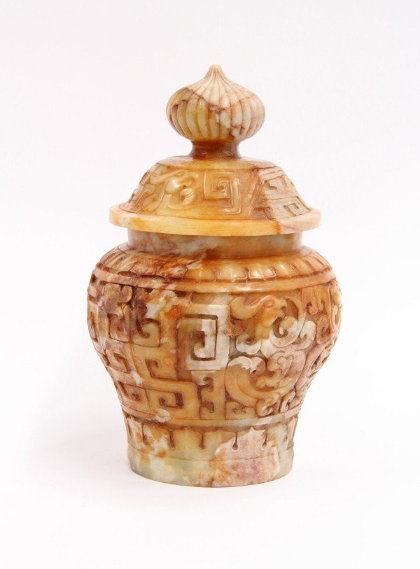 9: Chinese Hardstone Cover Urn - 2