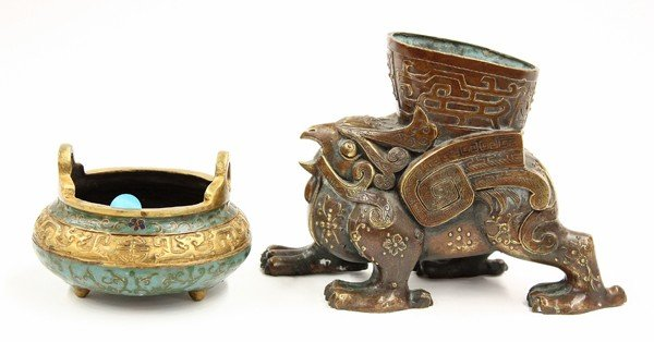 21: Chinese Archaistic Vessel and Enameled Censer
