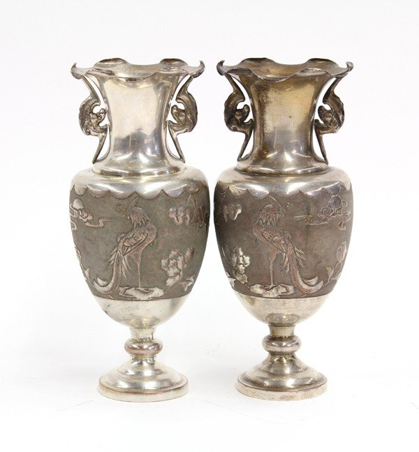 39: Chinese Silver Washed Vases, 19th/20th c