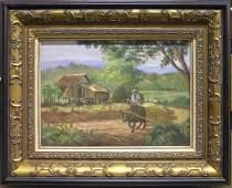 2441: Oil/canvasboard, Phillipines, attr. Amorsolo