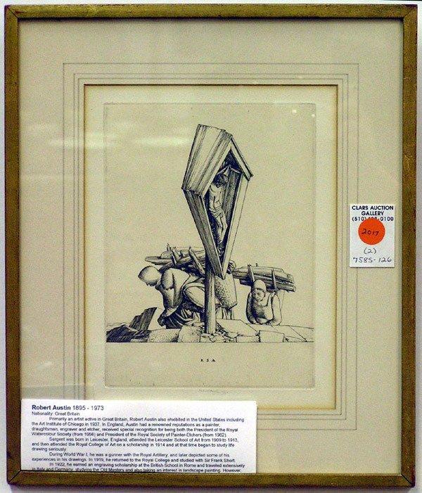 2017: Framed etchings, Sargent Austin, Levy