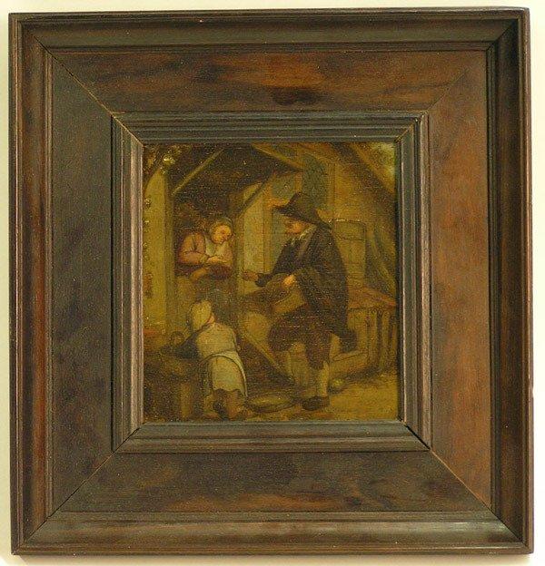 2013: Framed oil, Street Merchant, Dutch