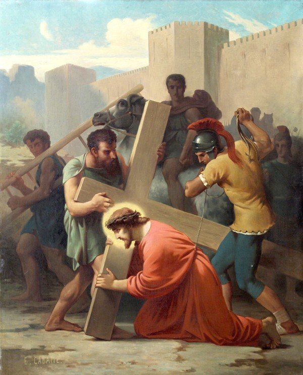 6213: Painting, Edouard Cabane, Stations of the Cross - 3