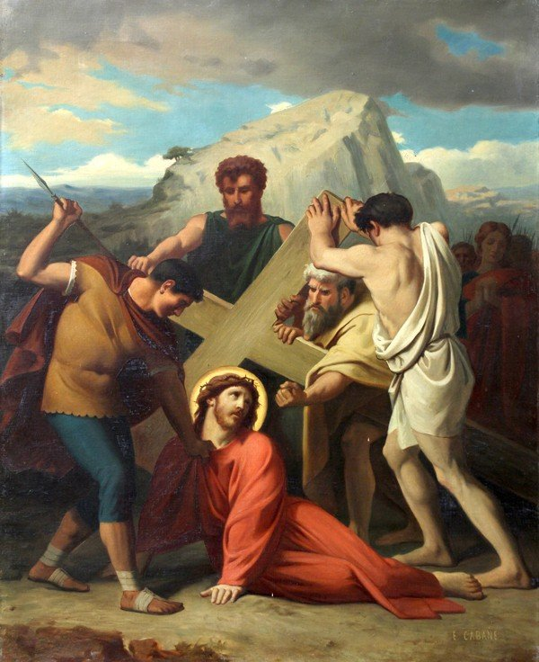 6213: Painting, Edouard Cabane, Stations of the Cross - 8