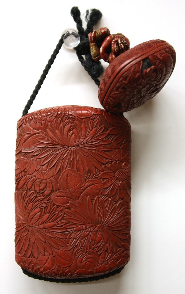 6989: Japanese Cinnabar Lacquer Inro, Edo Period