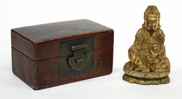 4001: Chinese Gilt Wood Guanyin and Lacquered Box