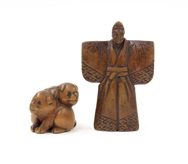 4008: Two Japanese Boxwood Figural Netsuke, 19th Centur