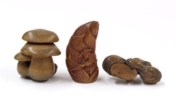 4010: Three Japanese Boxwood Netsuke