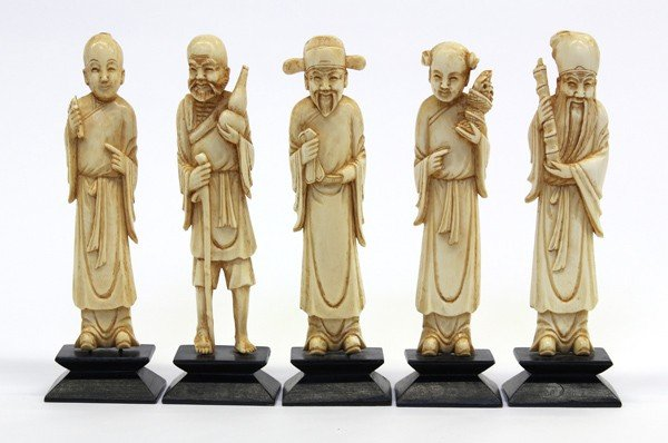 4011: Chinese Ivory Figurines of Daoist Immortals
