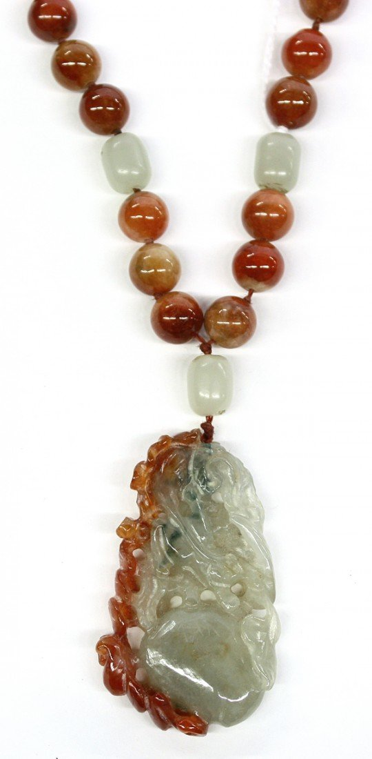 4019: Chinese Hardstone/Jade Bead Necklace and Toggle