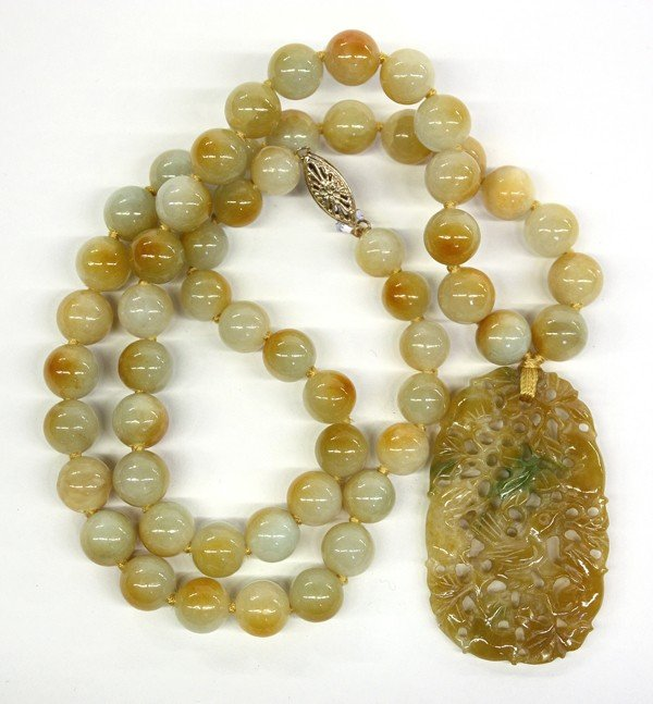 4021: Chinese Yellow-Green Jade Bead Necklace and Toggl