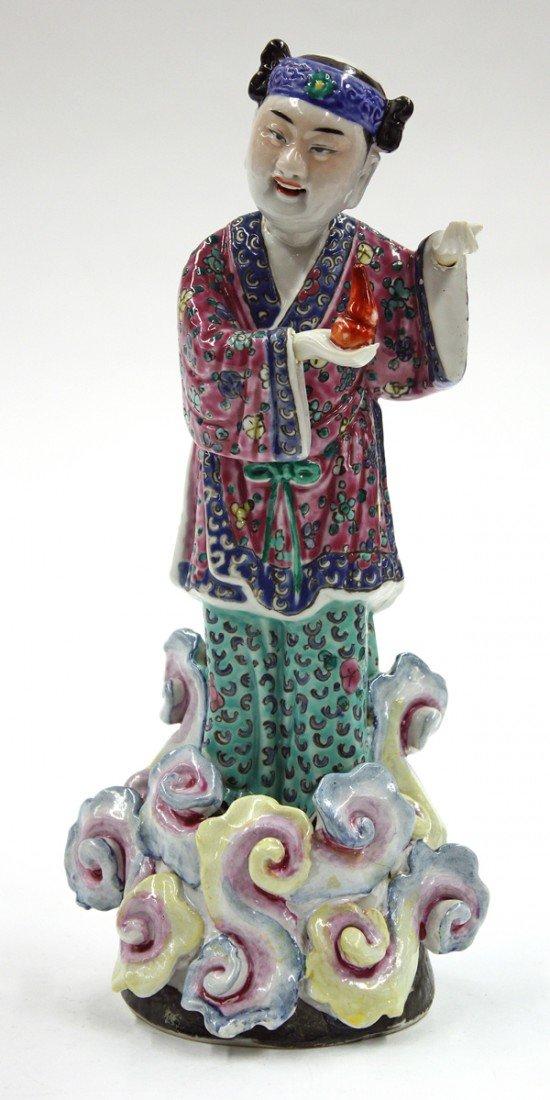 4022: Chinese Enameled Porcelain Figure