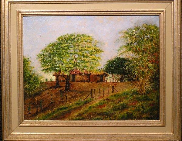 3: Framed oil, Farm Scene, A. Sotomayor