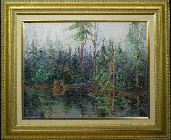4: Framed oil, River Scene, Eva Smith