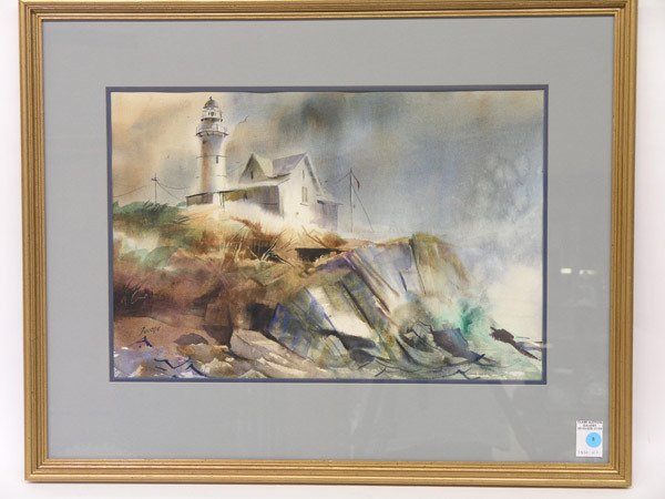6: Lighthouse watercolor signed Fouche