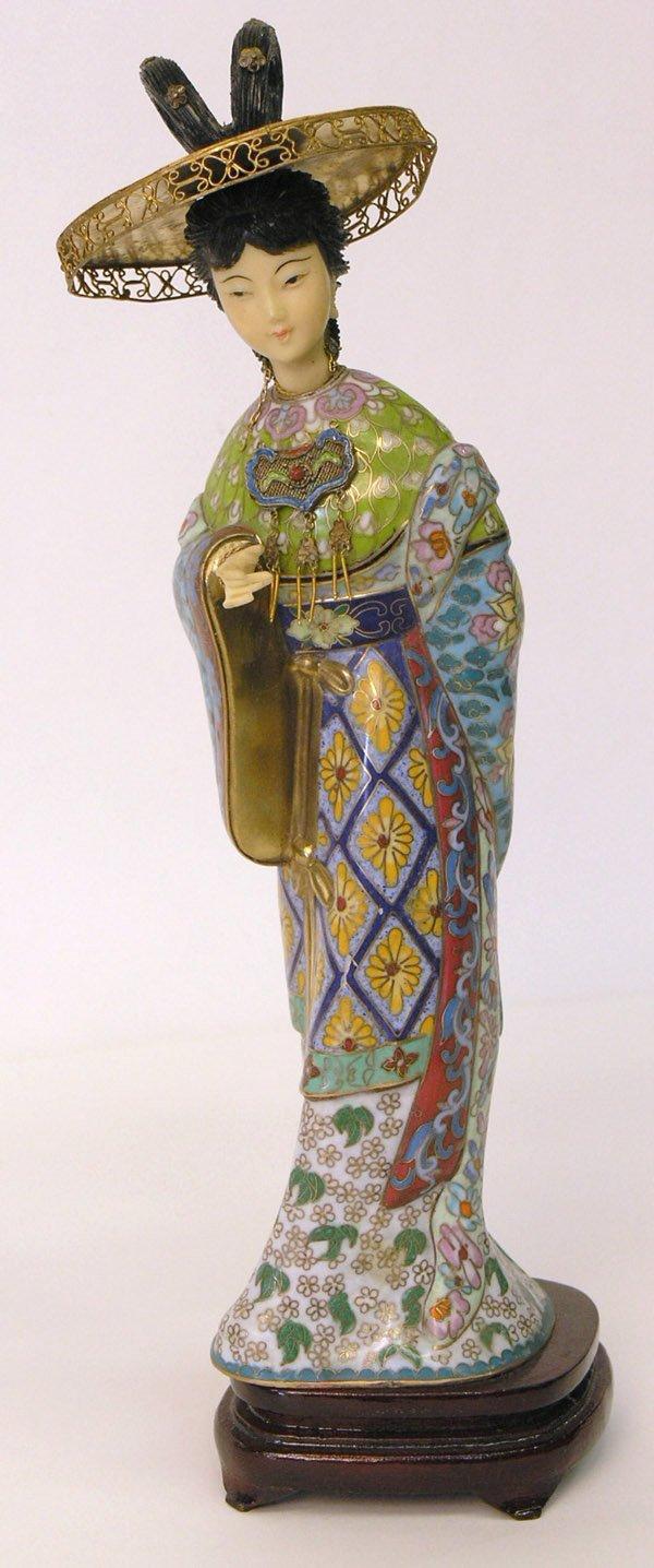 13: Geisha cloisonne figure