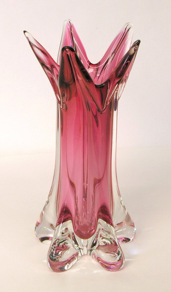 17: Mid-century red to clear vase