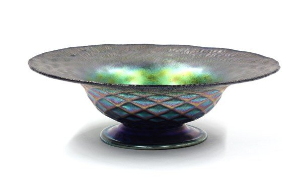 2003: Iridescent art glass compote