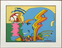 2238: Serigraph, Peter Max, Golden Time Sailing Ship