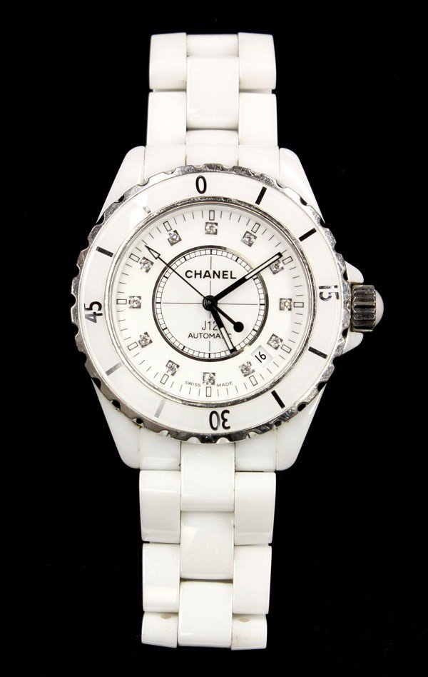 2480: CHANEL diamond J12 automatic wristwatch