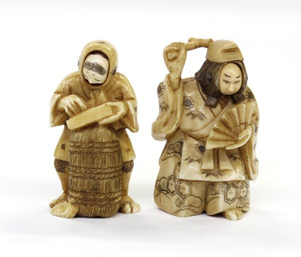 10: Two Japanese Ivory Figural Carvings