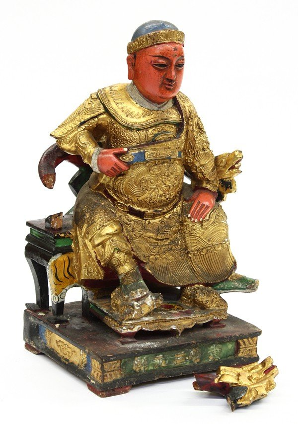 11: Chinese Gilt/Pigment Wood Figure