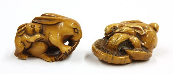 18: Two Chinese Ivory Figural Carvings