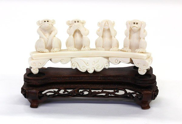 20: Chinese Ivory Monkey Carving