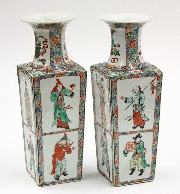 21: Chinese Famille Verte Vases,Qing/Republic