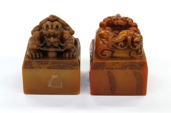 23: Chinese Soapstone Seals w/ Mythical Beasts