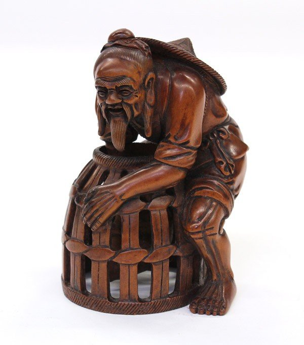24: Chinese Wooden Carving, Fisherman